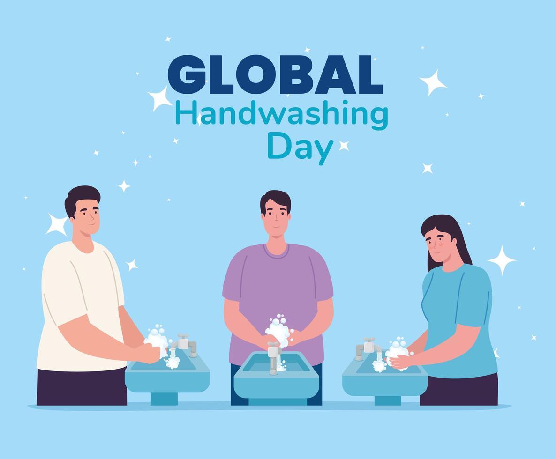 banner global do dia da lavagem das mãos com pessoas lavando as mãos vetor