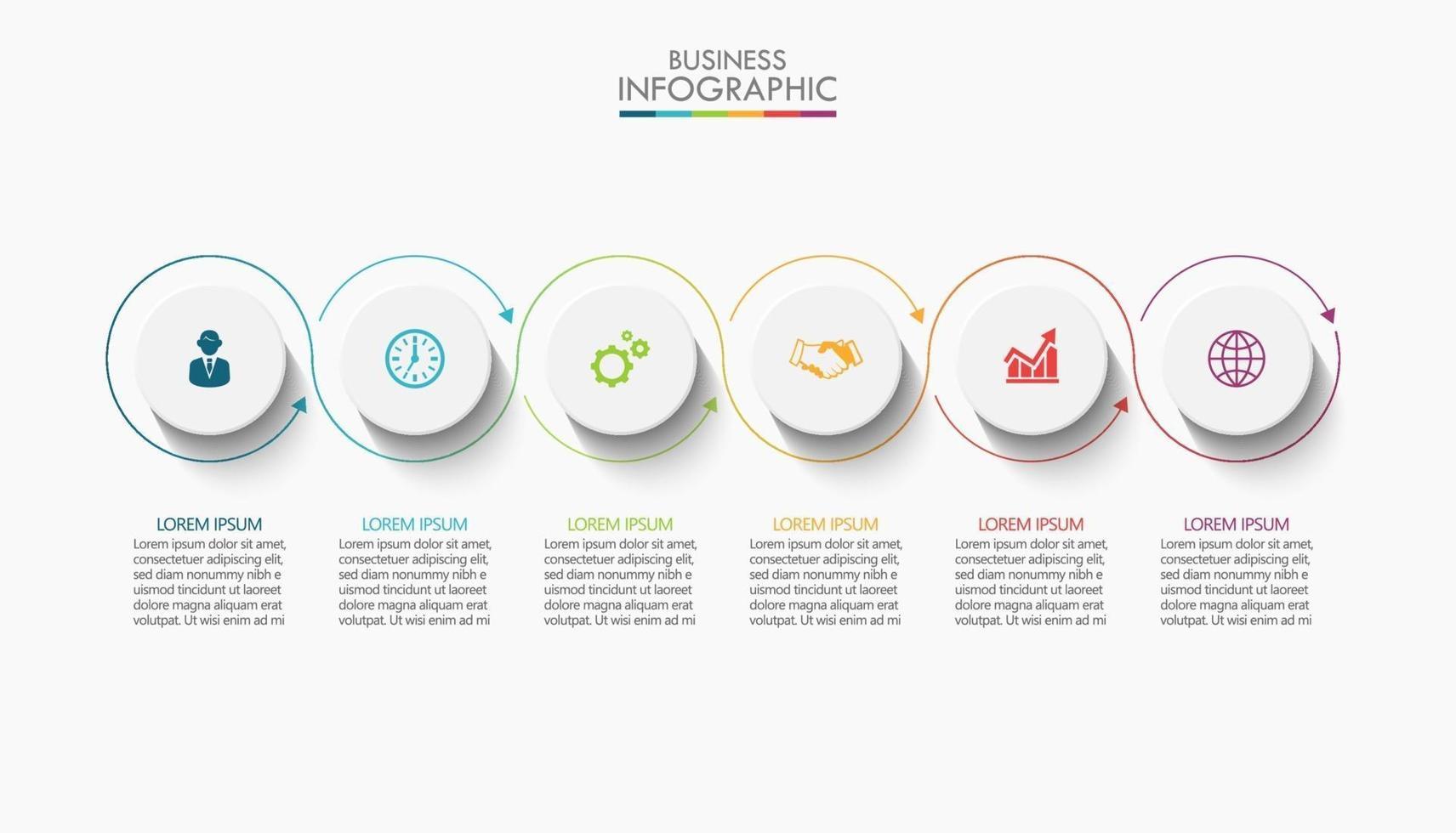infográfico modelo de design de linha fina com 6 opções vetor