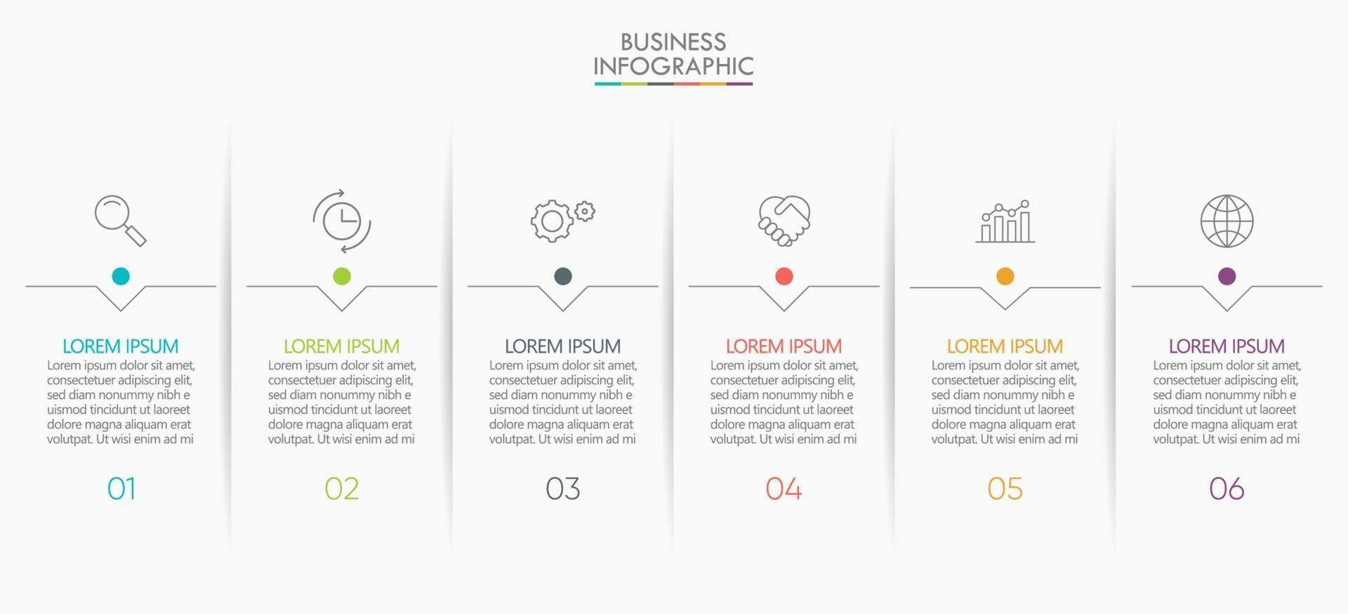 ícones de infográficos com 6 etapas vetor