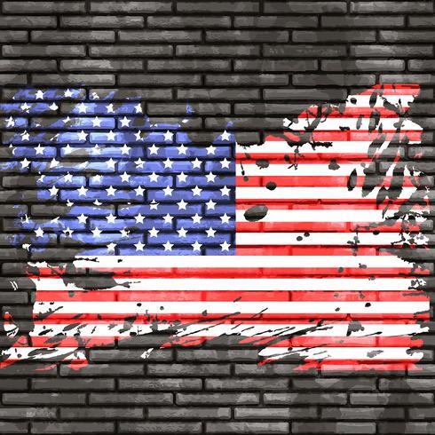 Bandeira americana, ligado, parede tijolo vetor