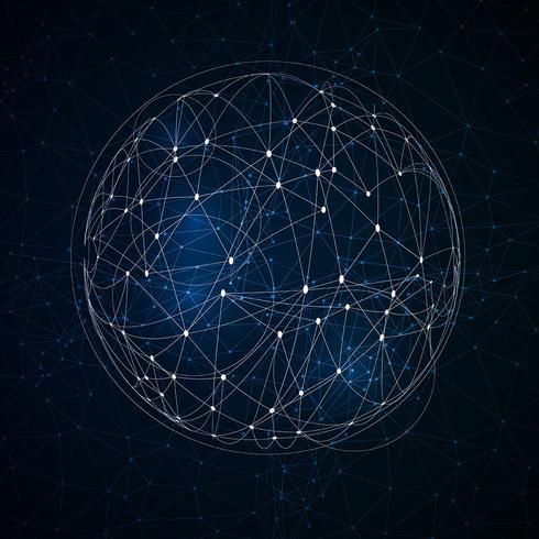 Esfera poli baixa abstrata com pontos de conexão vetor