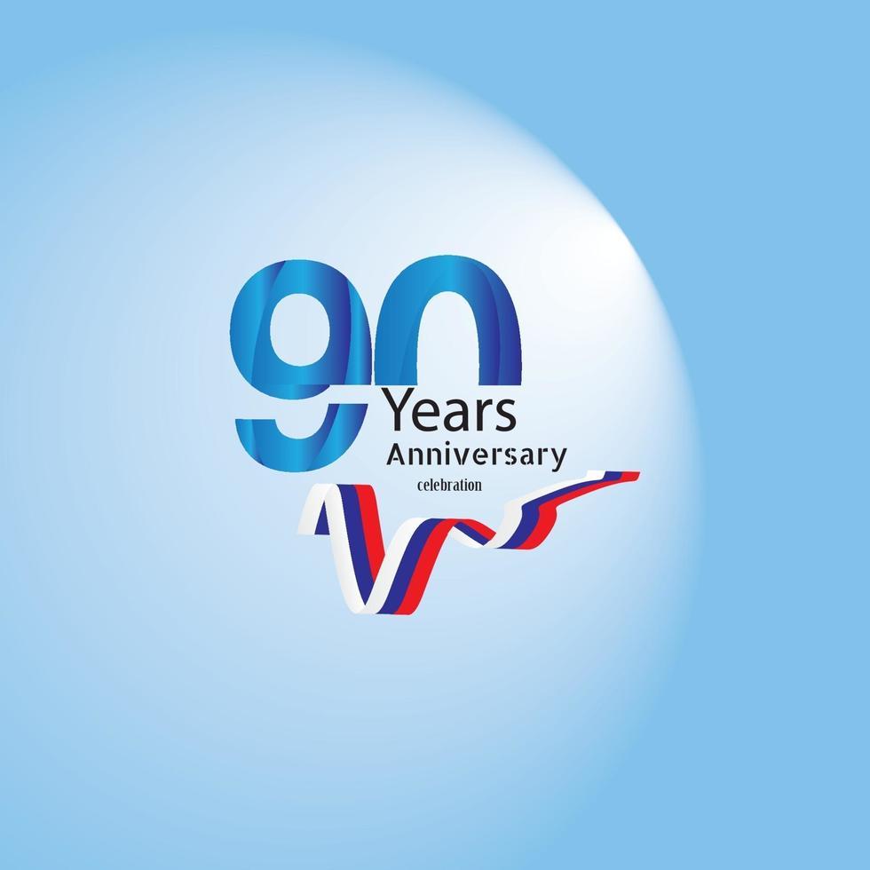 cartão ou emblema de convite de aniversário de anos - design de modelo de celebração, ilustração vetorial de fundo azul de elementos de design moderno de aniversário vetor