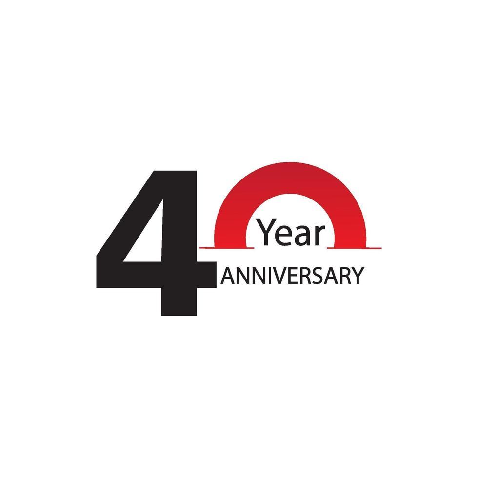 ano aniversário logotipo vetor modelo design ilustração branco e vermelho