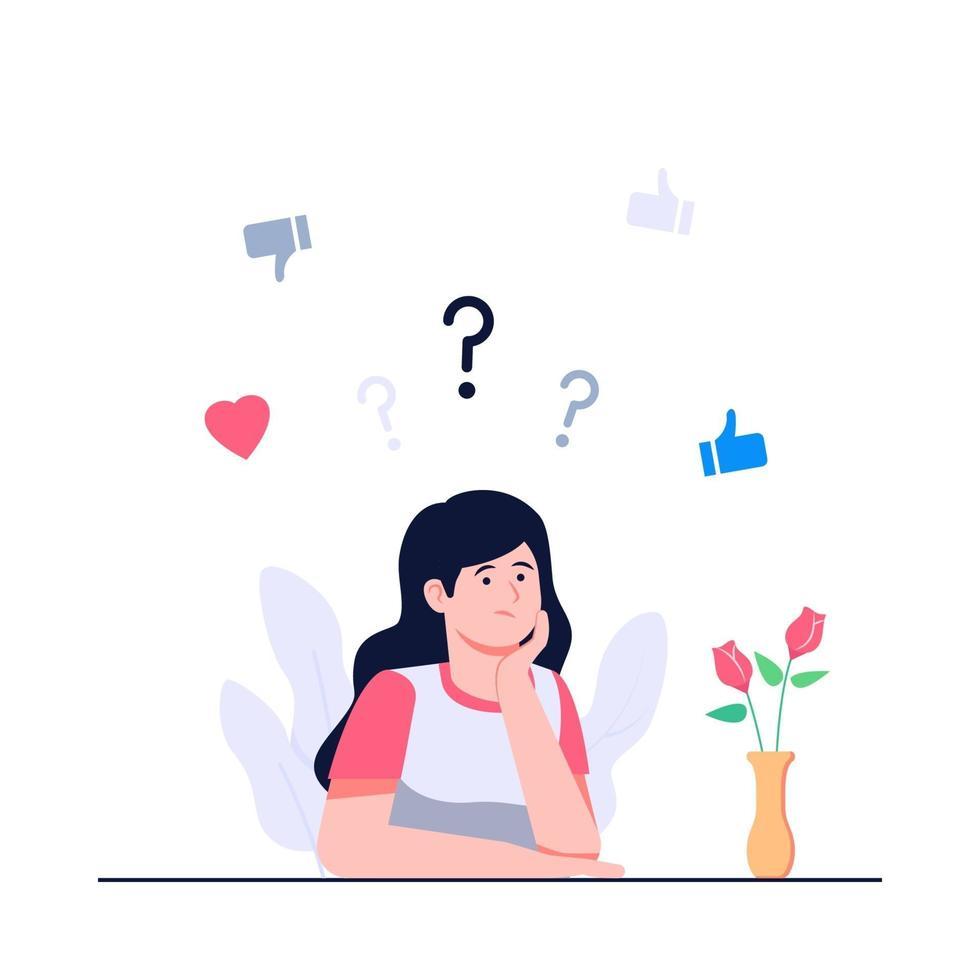 mulheres confusas sobre como escolher uma ilustração plana de conceito vetor