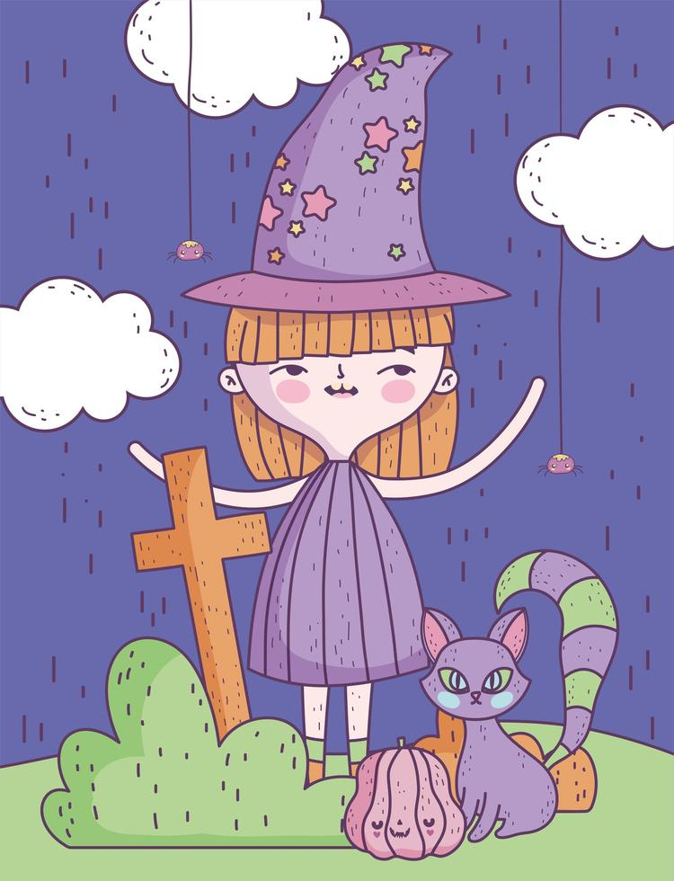 pôster fofo de halloween com bruxinha vetor