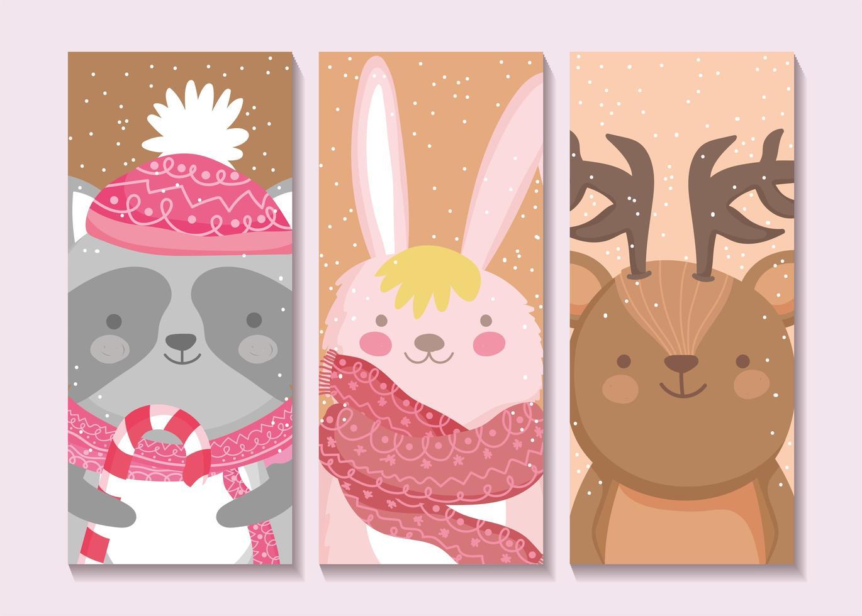 conjunto de cartão de animais fofos de inverno vetor