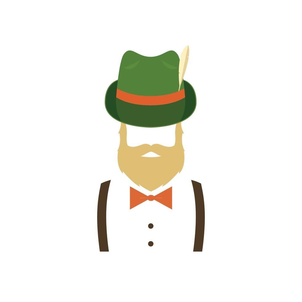 homem barbudo com chapéu verde alemão tradicional. ícone moderno. vetor