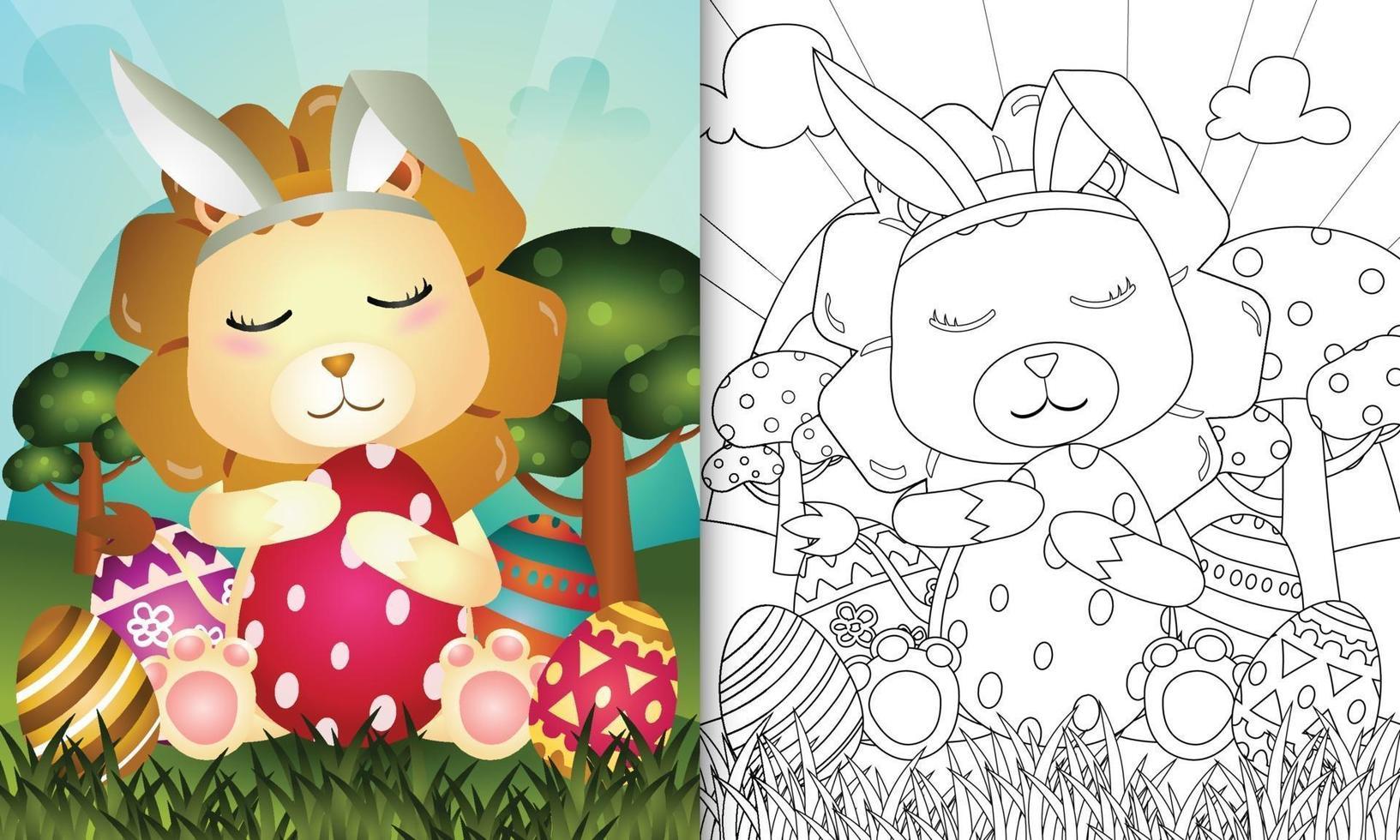 livro de colorir para crianças com o tema Páscoa com um leão fofo usando orelhas de coelho vetor