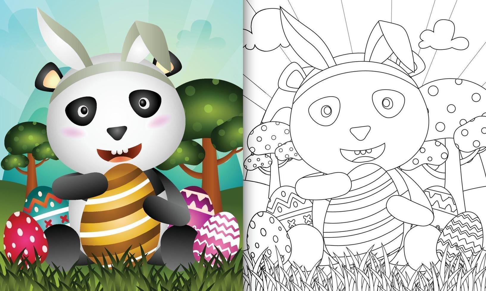 livro de colorir para crianças com o tema Páscoa com um panda fofo usando tiaras de orelhas de coelho abraçando um ovo vetor
