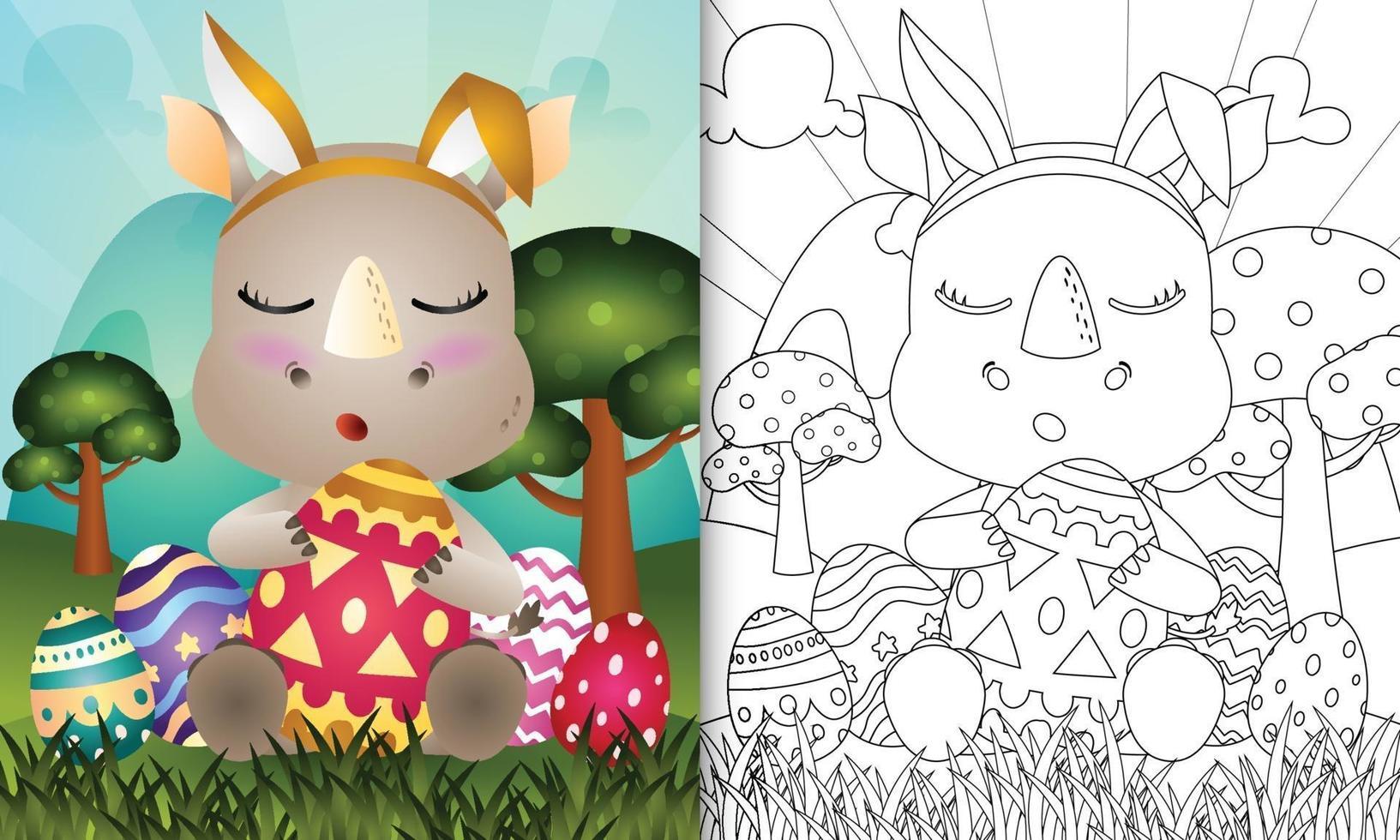 livro de colorir para crianças com o tema Páscoa com um rinoceronte fofo usando tiaras de orelhas de coelho abraçando ovos vetor