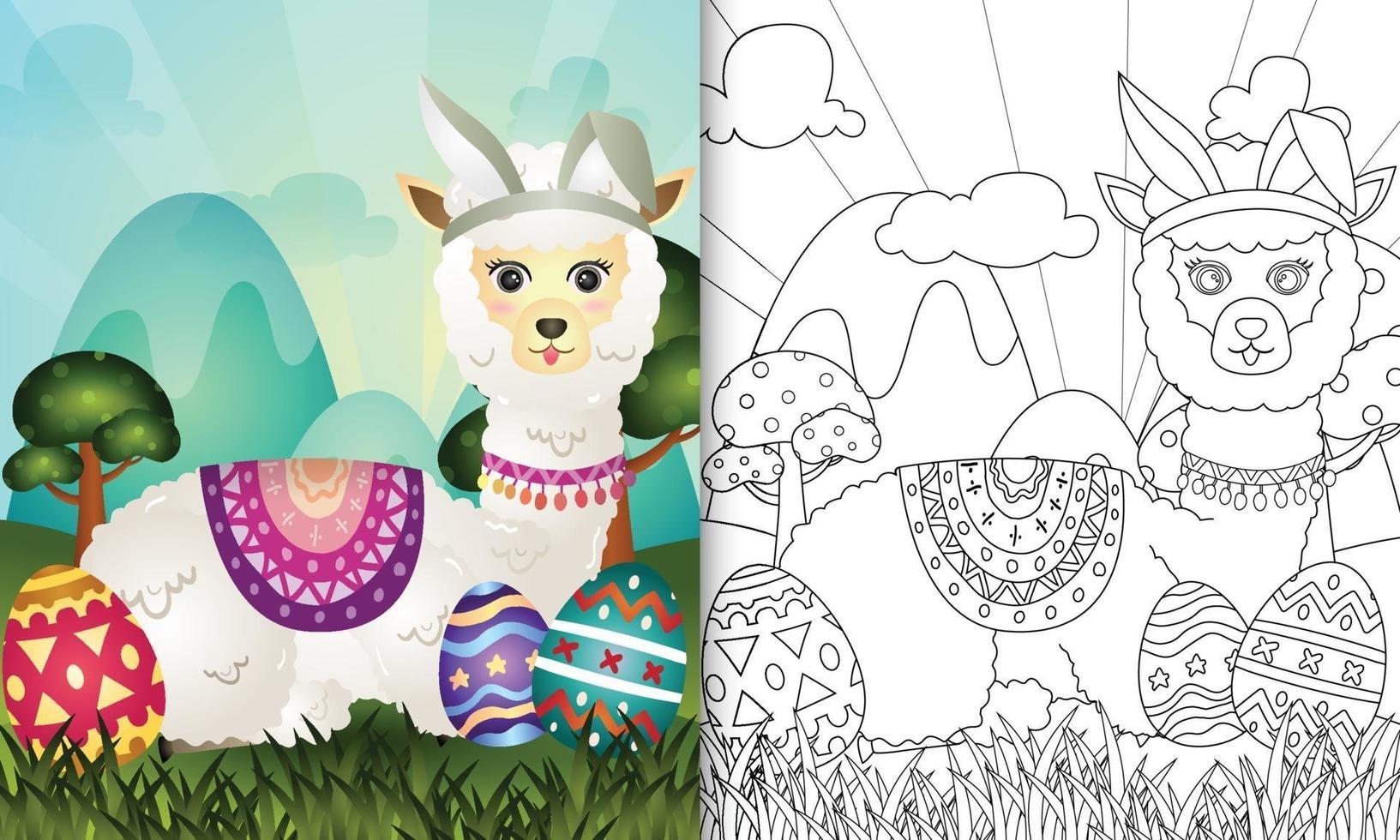 livro de colorir para crianças com tema de páscoa com uma alpaca fofa com orelhas de coelho vetor