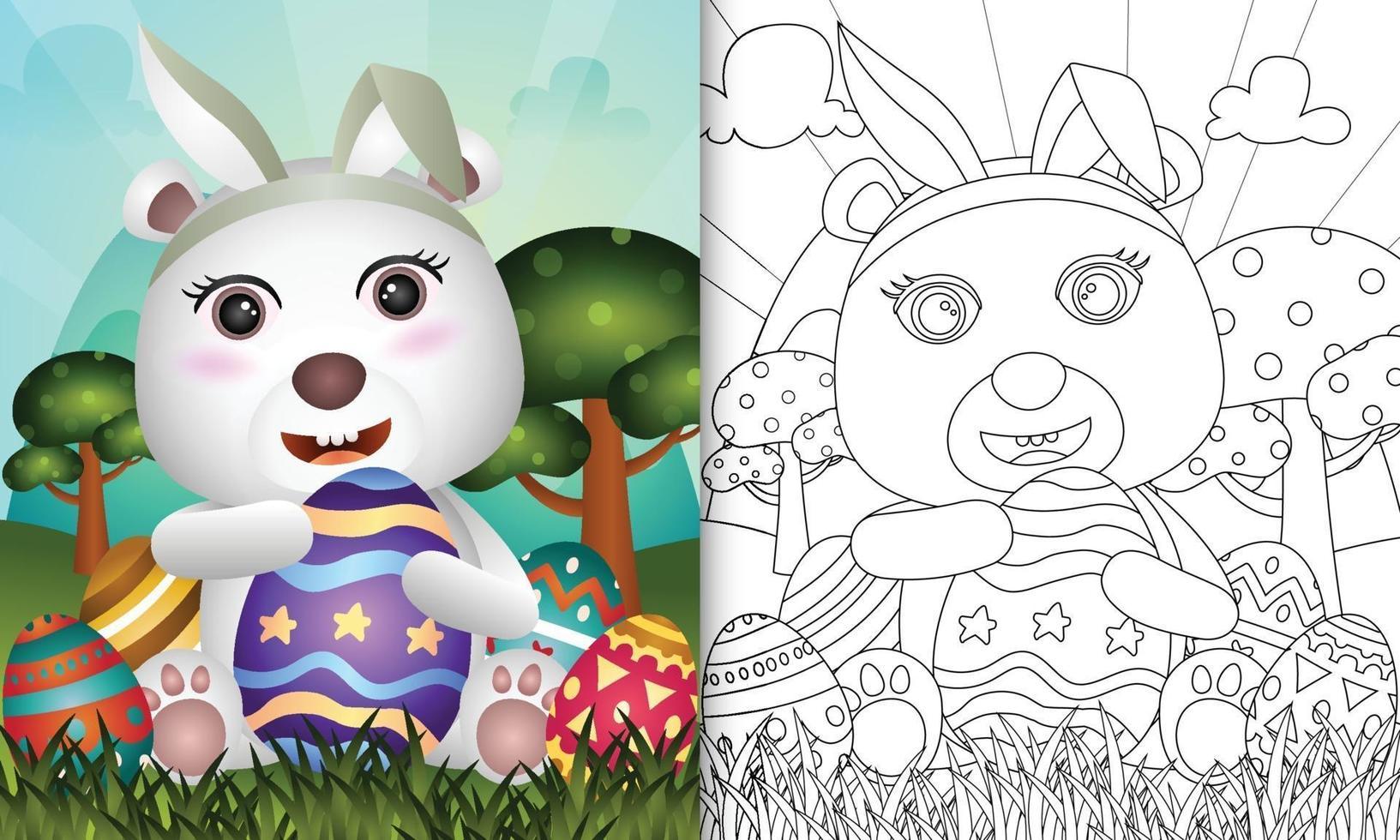 livro de colorir para crianças com o tema Páscoa com um urso polar fofo usando orelhas de coelho vetor