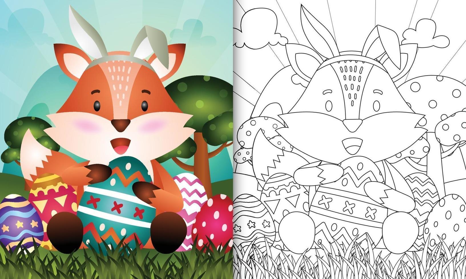 livro de colorir para crianças com o tema Páscoa com uma raposa fofa usando tiaras com orelhas de coelho abraçando ovos vetor