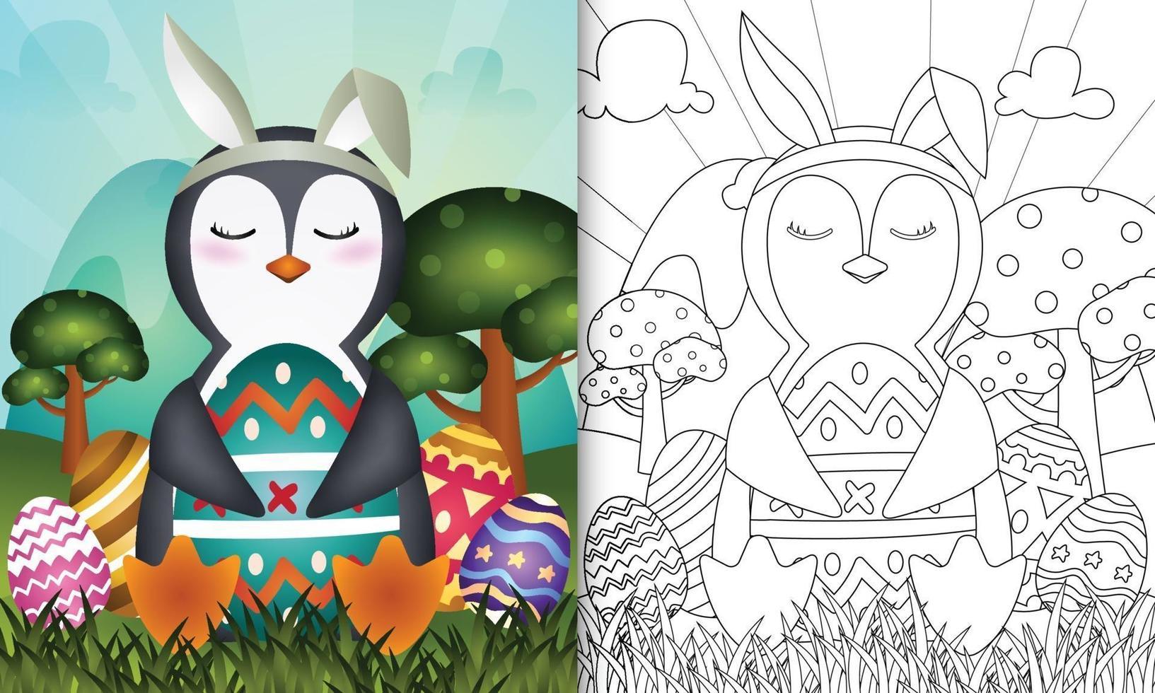 livro de colorir para crianças com o tema Páscoa com um pinguim fofo usando orelhas de coelho vetor