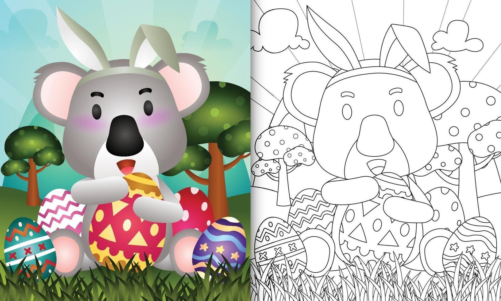 livro de colorir para crianças com o tema Páscoa com um coala fofo usando tiaras de orelhas de coelho abraçando ovos vetor