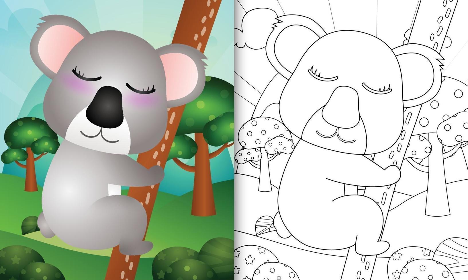 livro de colorir para crianças com uma ilustração de um coala fofo vetor