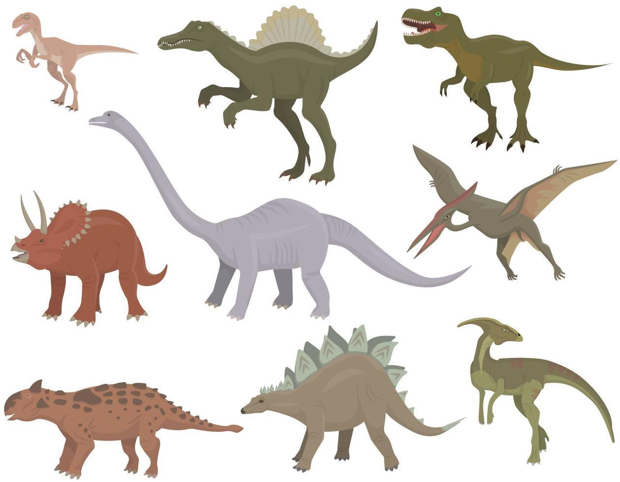 grande conjunto de diferentes dinossauros. vetor
