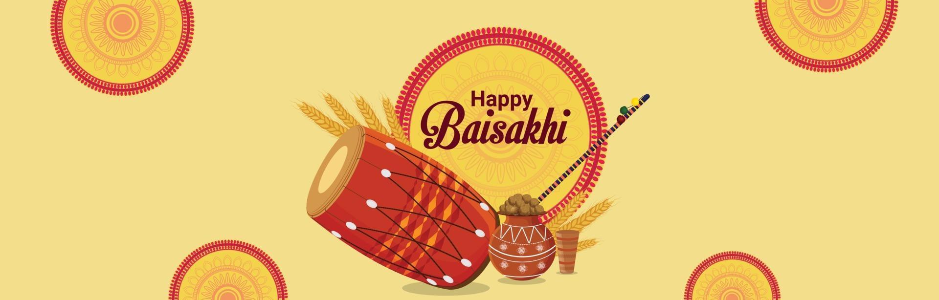 banner de celebração vaisakhi feliz vetor