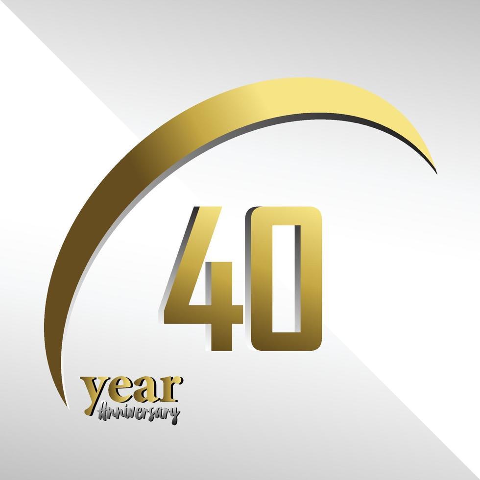 40 anos de aniversário logotipo vetor modelo design ilustração ouro e branco