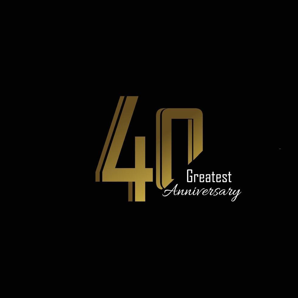 40 anos de aniversário logotipo vetor modelo design ilustração ouro e preto