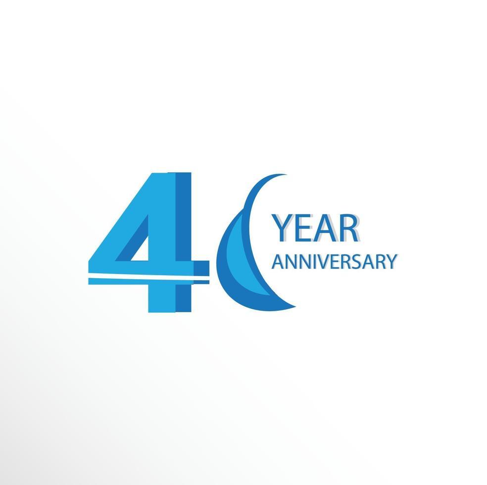 40 anos de aniversário logotipo vetor modelo design ilustração azul e branco