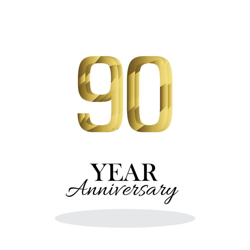 90 anos de aniversário logotipo vetor modelo design ilustração ouro e branco