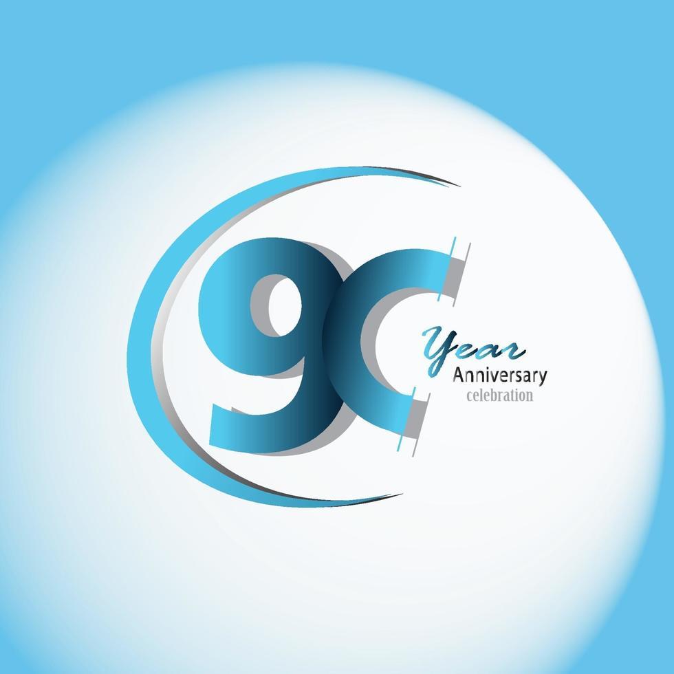 90 anos de aniversário logotipo vetor modelo design ilustração azul e branco