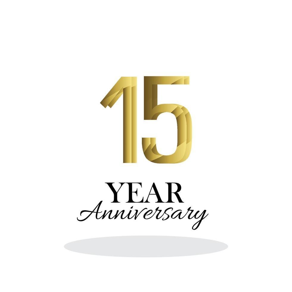 15 anos de aniversário logotipo vetor modelo design ilustração ouro e branco