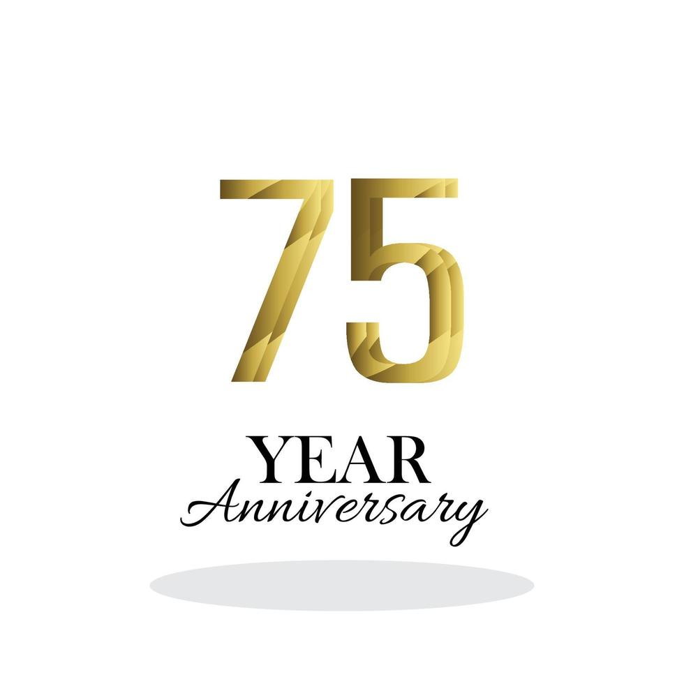 ano aniversário logotipo vetor modelo design ilustração ouro e branco