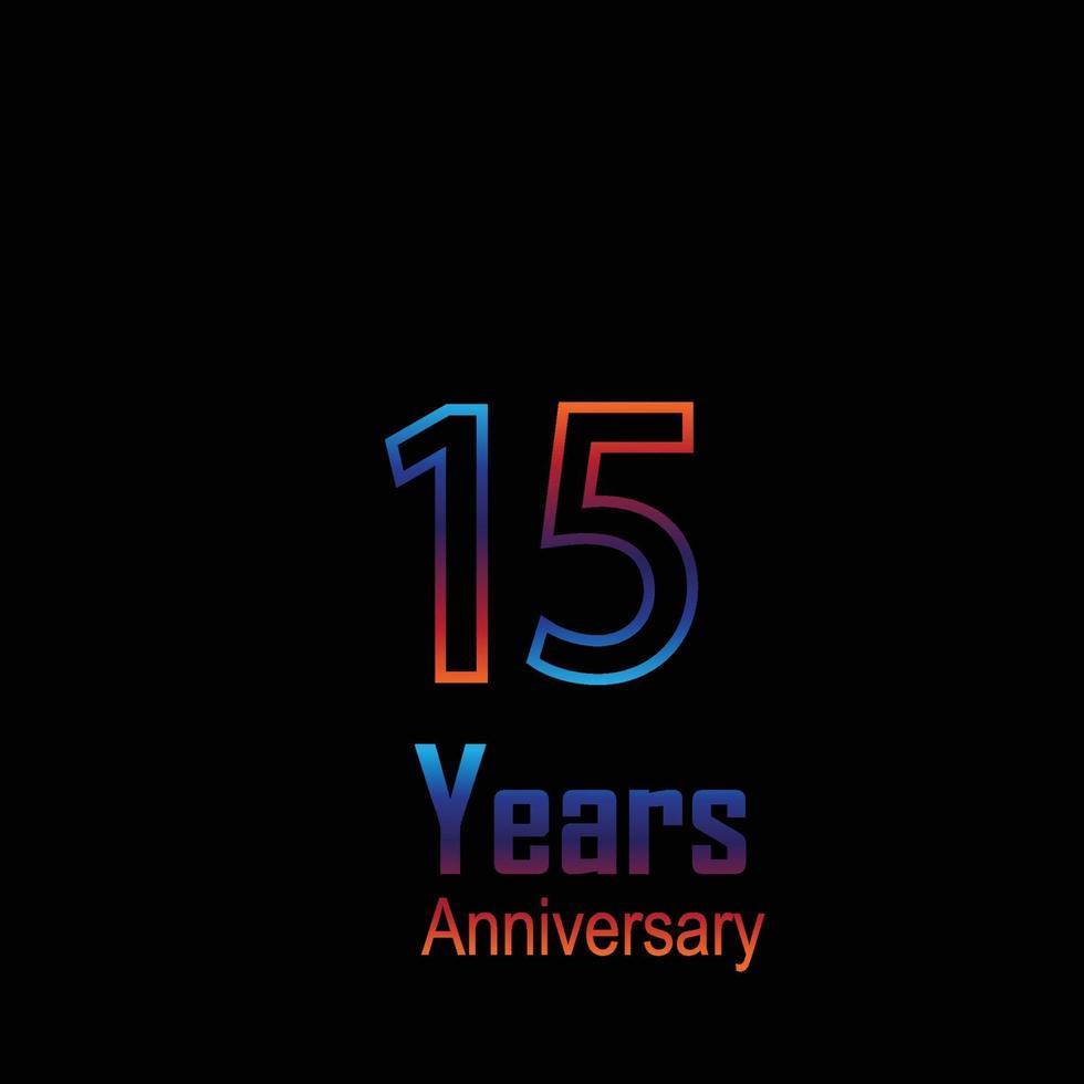aniversário logotipo vetor modelo design ilustração arco-íris e preto