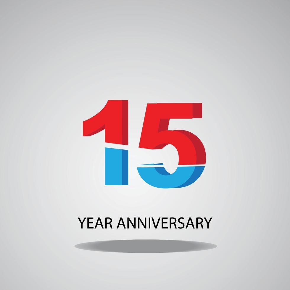 ano aniversário logotipo vetor modelo design ilustração vermelho, azul e branco