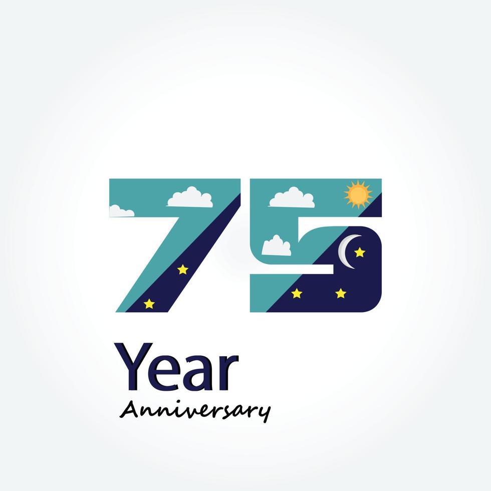 ano aniversário logotipo vetor modelo design ilustração azul e branco