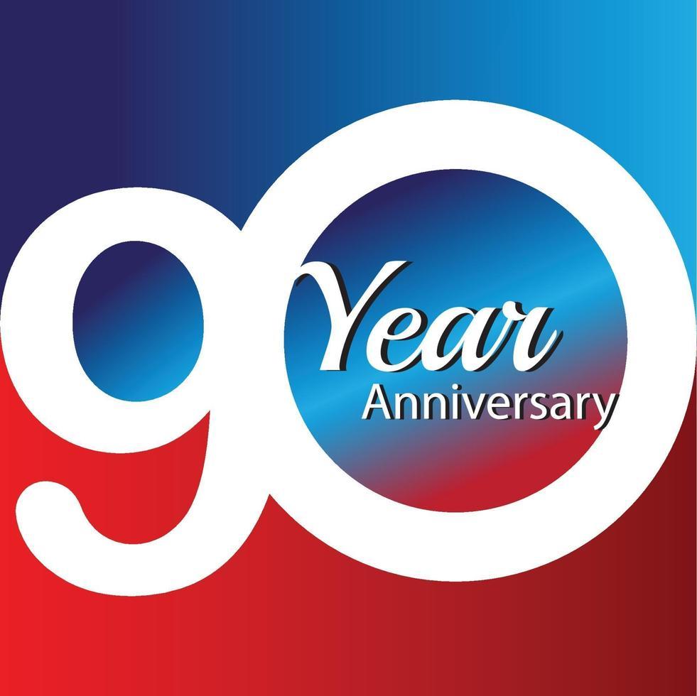 Ilustração de design de modelo de vetor de logotipo de aniversário de 90 anos