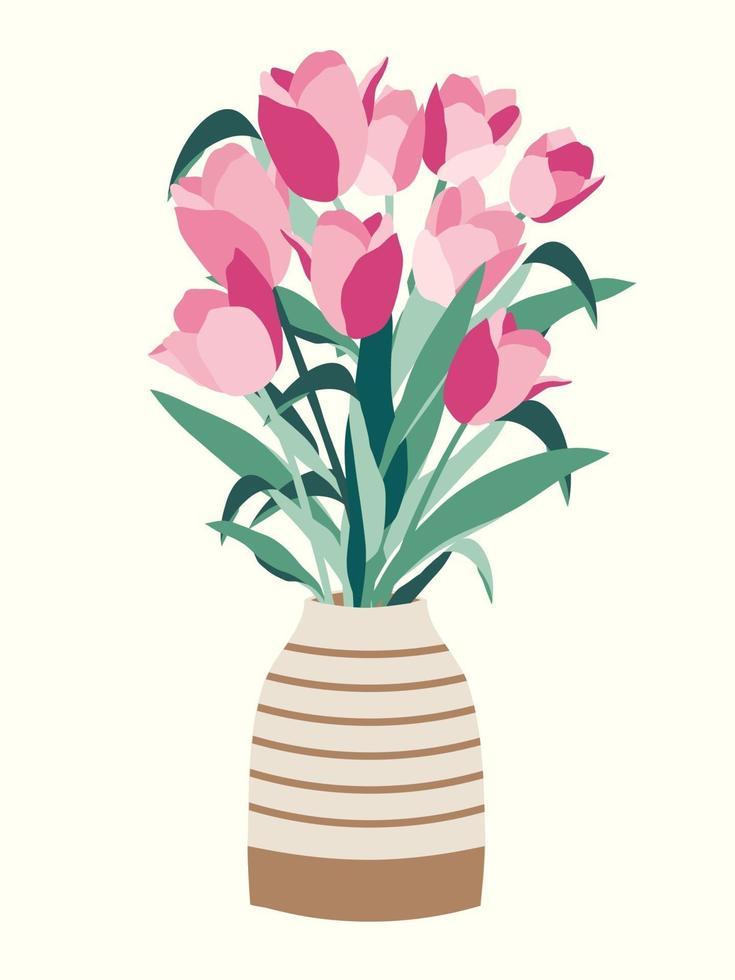 ilustração de buquê de flores de tulipas em um vaso vetor