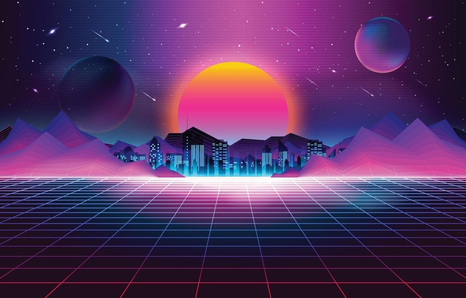 fundo retro futurismo pôr do sol vetor