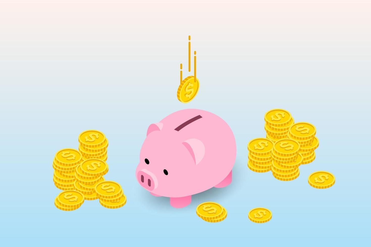 desenho isométrico de cofrinho com moedas e moedas caindo. o conceito de coleta de dinheiro, depósito para futuro investimento em instituição financeira. vetor