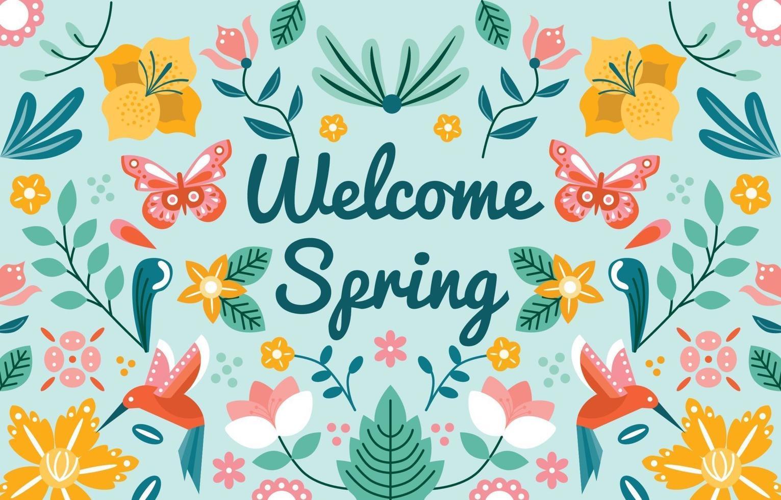 boas-vindas do fundo do ornamento da primavera vetor