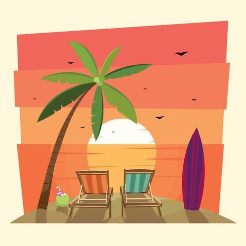 Resort na praia vetor