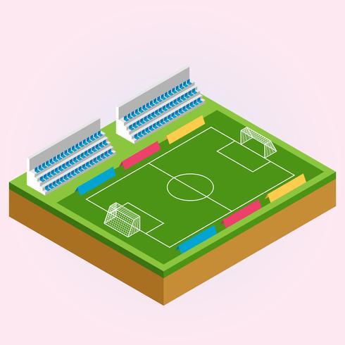 Ilustração isométrica de campo de futebol e futebol vetor