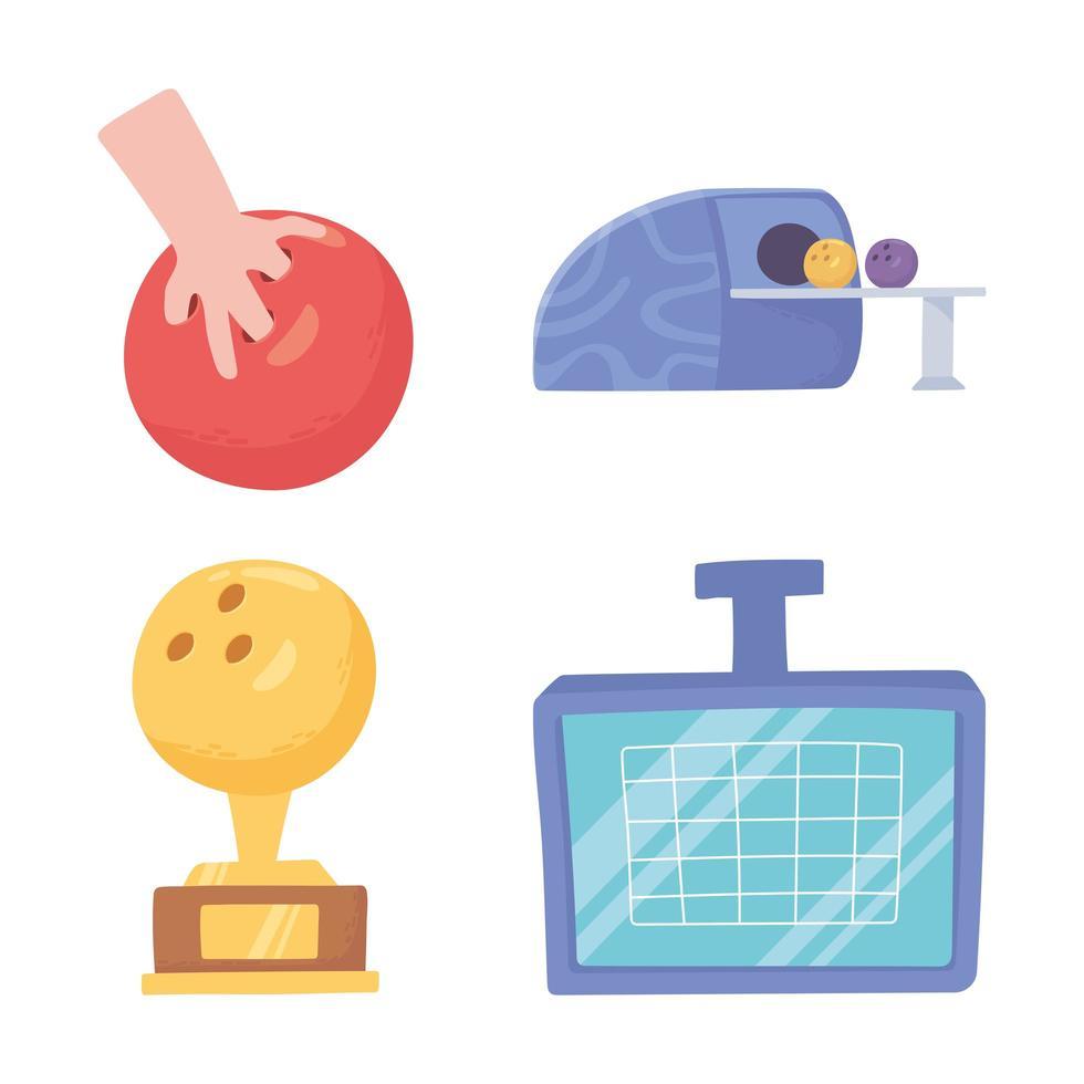 conjunto de ícones de boliche vetor