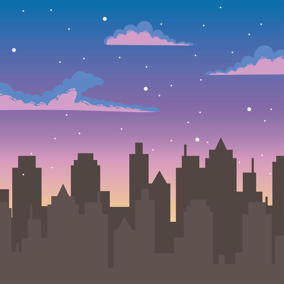 desenho animado do céu do pôr do sol com a silhueta de prédios urbanos vetor