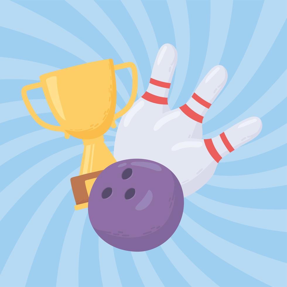 bola de boliche, troféu e pinos vetor