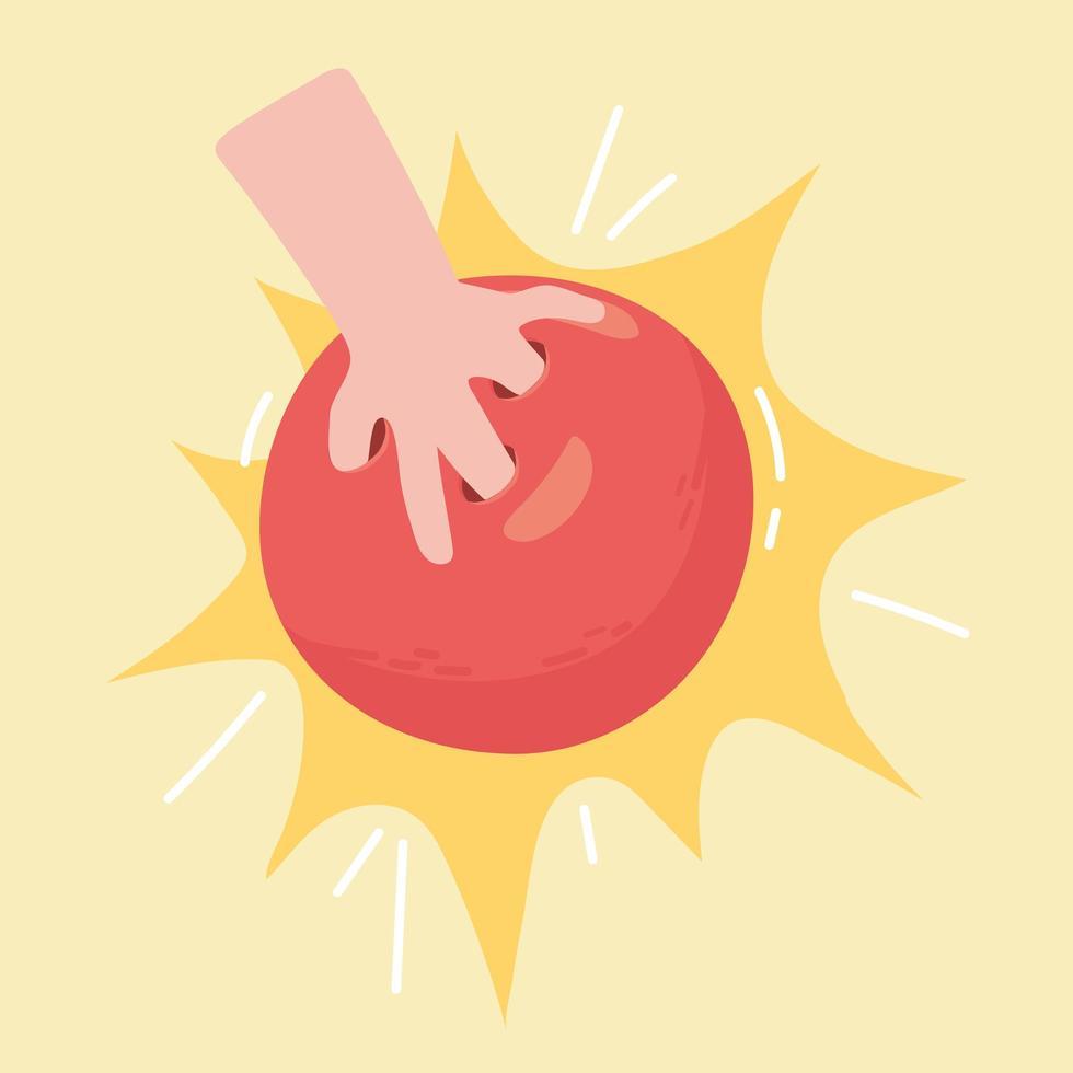 mão de boliche com bola vetor