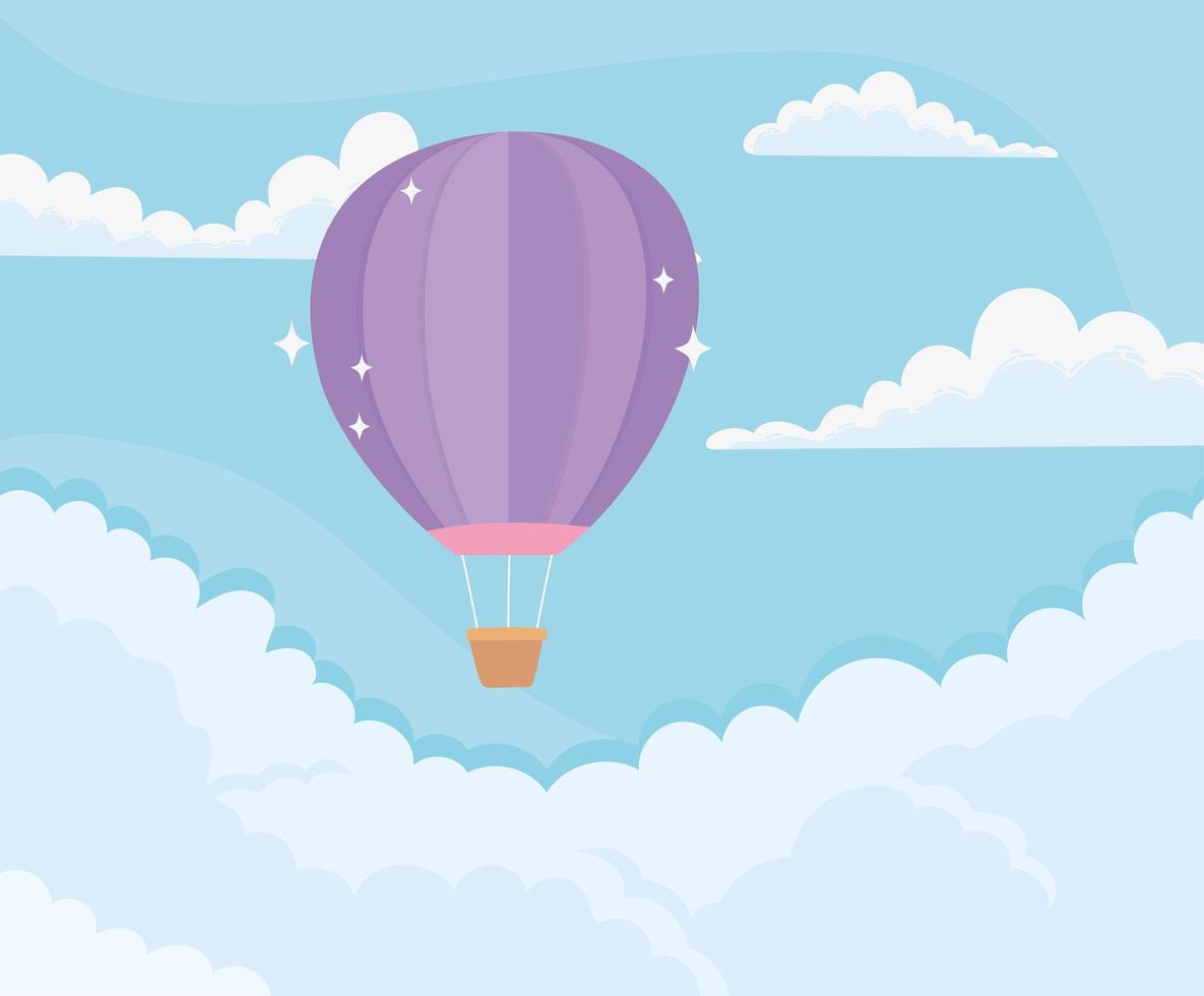 desenho animado céu com balão de ar quente voando entre as nuvens vetor