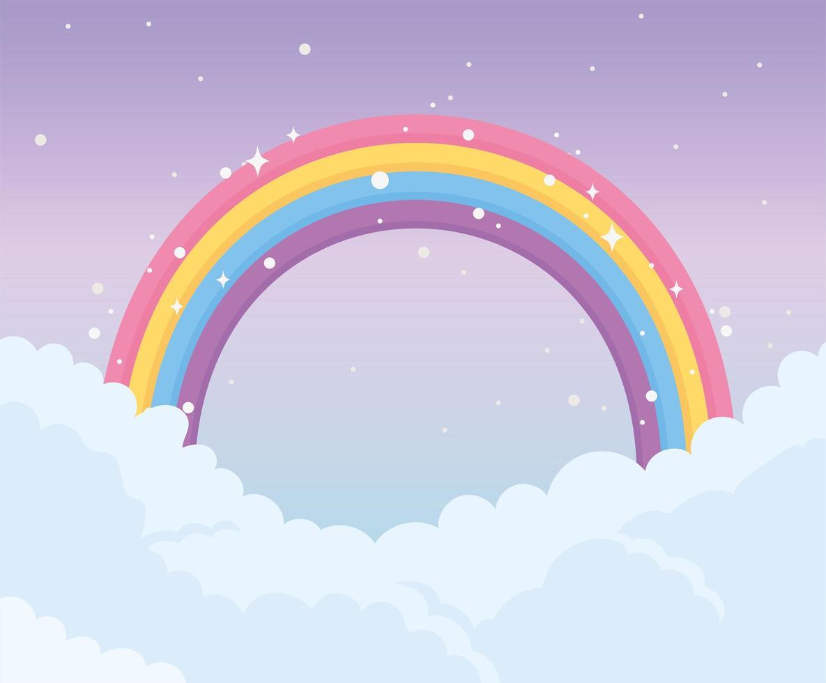 desenho do céu com arco-íris vetor