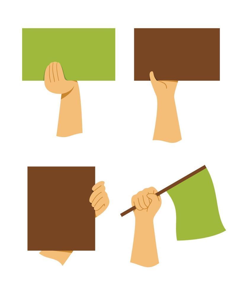 quatro estilos de mãos segurando um conjunto de placa e bandeira vetor