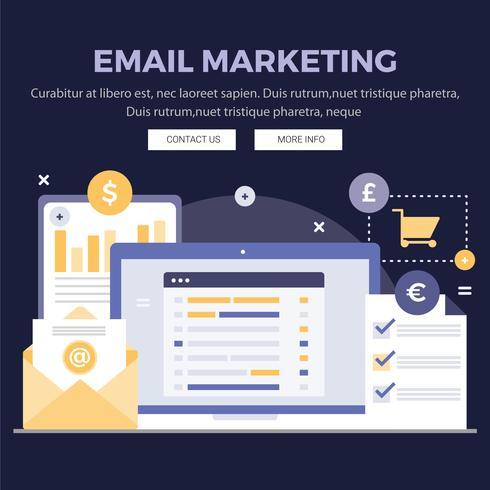 Ilustrações de Design de Marketing de e-mail de vetor