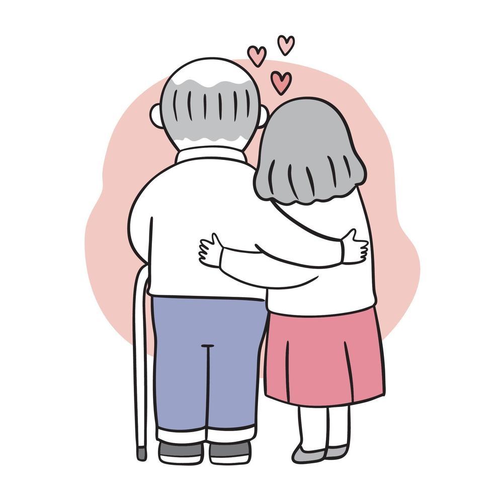 mão desenhar cartoon fofo dia dos namorados. casal mais velho abraçando o vetor. vetor