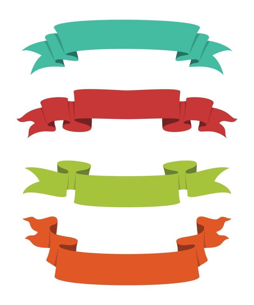 quatro estilos de conjunto de fitas coloridas vetor