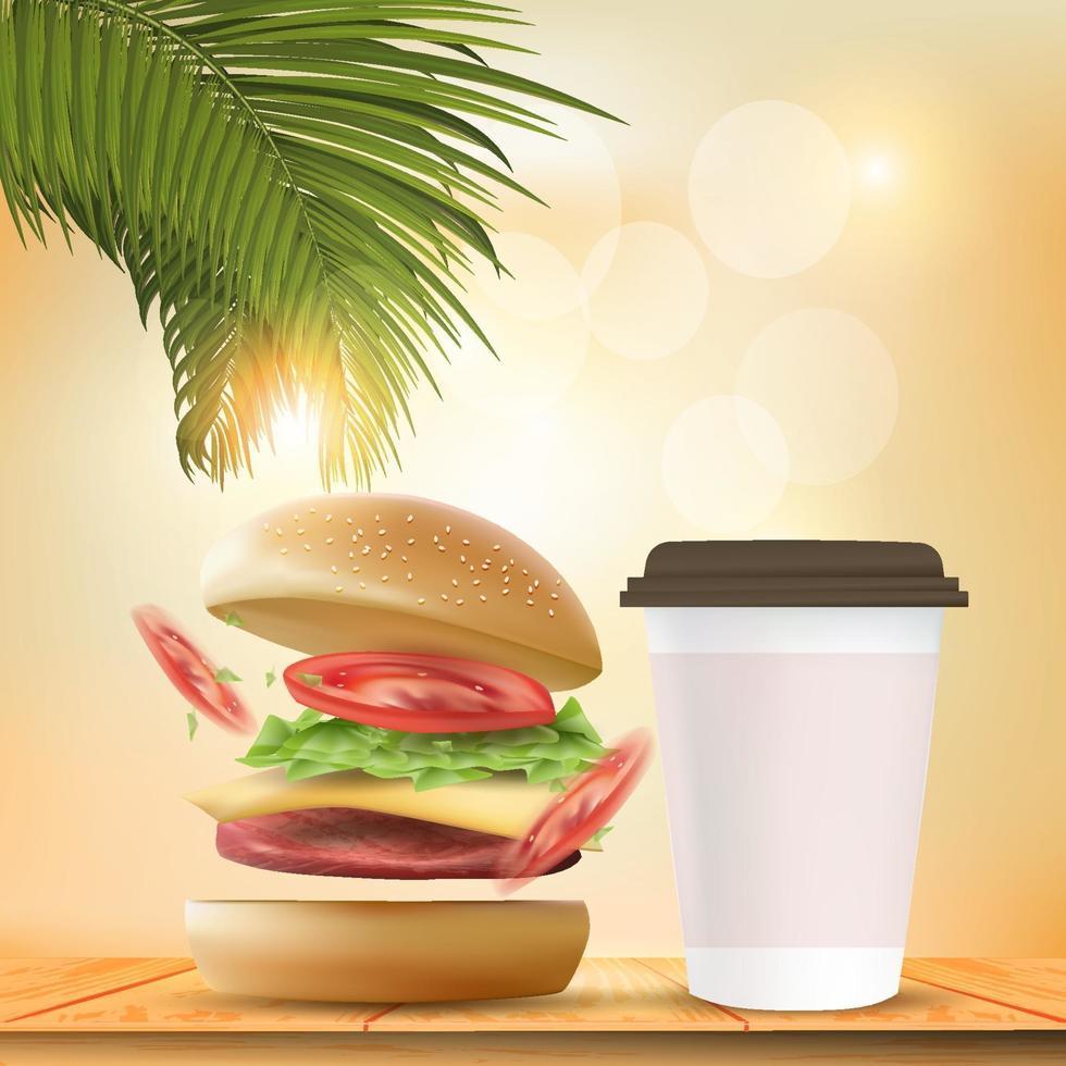 hambúrguer delicioso. ilustração vetorial hambúrguer realista em bokeh de fundo. vetor
